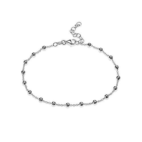Quadri - Pulsera de cuentas con corte de diamante de 3 mm y plata de ley 925 de 16,5 a 21,5 cm, ajustable para mujeres y adolescentes.