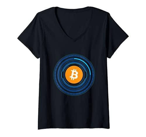 Mujer Bitcoin BTC Crypto Trader #bitcoin Future Freedom Gift Camiseta Cuello V