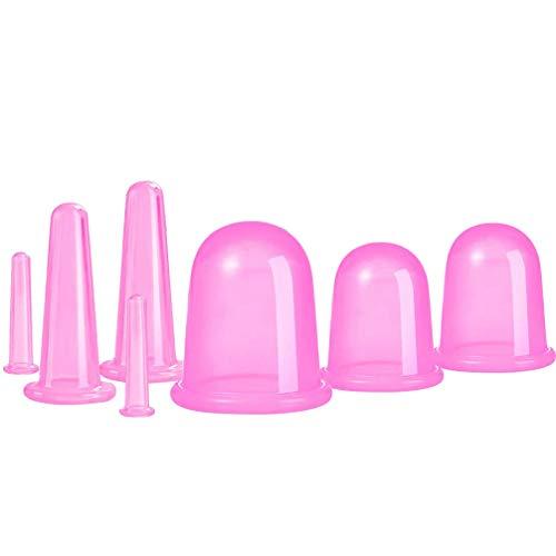 EXCEART 7 Pcs Visage Corps Ventouses Massage Silicone Ventouses à Vide pour Les Rides Anti Cellulite Corps Tasse avec Sac (Rose)