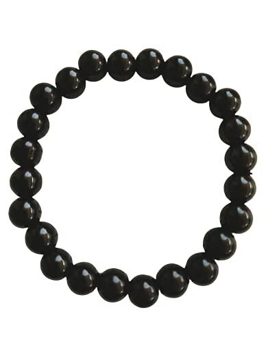 SabelAX Pulsera Piedra Natural, Pulsera Bolas para Hombre Mujer, Pulsera Negra Elastica Ajustable, Piedra Sanadora Onix Negro 8mm, Amuleto Espiritual Chakras