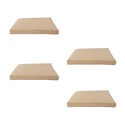 Edenjardi Pack 4 Cojines textilene para sillas de Exterior Color Arena, Tamaño 44x44x5 cm, Tela Antimanchas, Desenfundable