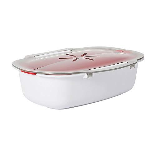 LOCGFF Multifunktions-Mikrowellenkochgeschirr, abnehmbares Sieb und abschließbarer Dampfentlüftungsdeckel, Bpa-frei, spülmaschinenfest, für die Küche geeignet
