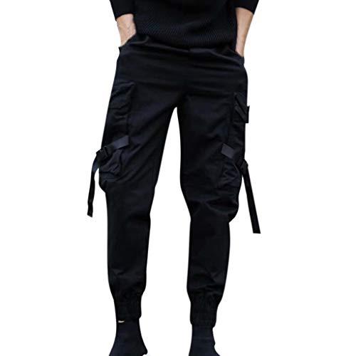 AmyGline Herren Hose Mode Cargo Hose Muti Taschen Bandage CasualSporthosen Harem Hose Männer Freizeithose Chino Hose Sweatpants (Schwarz, L)