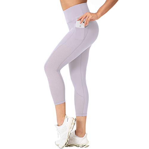 RAYPOSE Women Yoga Pants Capri Workout Leggings with Pockets High Waisted Running Mesh Compression Capris Sport Tummy Control Fitness Gym Exercise Athletic Light Purple-XL