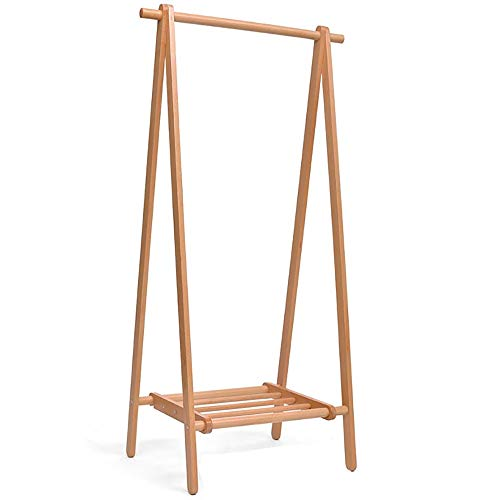 NEHARO Abrigo Soporte de Rack Planta for el hogar Ropa tendida Perchero Estante Plegable de Ropa de Madera Maciza Perchero dormitorios Rack Fácil de Acceder (Color : Wood Color, Size : 150x48x95cm)