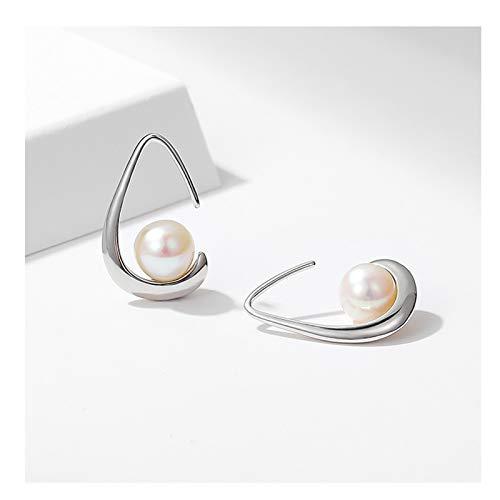 KGDC Pendientes S925 Plata Pendientes de Perlas de Agua Dulce Femenino Exquisito Pequeño y Simple diseño Pendientes de Alta Gama Joyería Aretes para Mujeres (Color : B)