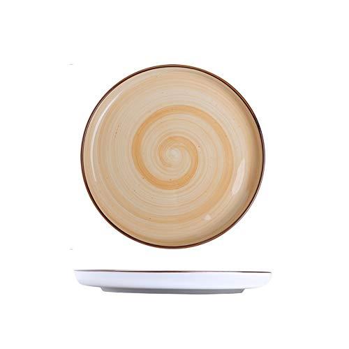 DYB Plato de Postre Platos Postre Platos patrón Minimalista Plato de Porcelana for la Cena y Ensalada Pizza Pasta (Color : Orange)