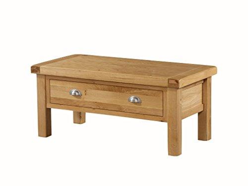 Newport en chêne massif Medium de stockage de table basse avec tiroir en chêne – Petite table basse de rangement – Finition : rustique en chêne clair – Meuble de salon