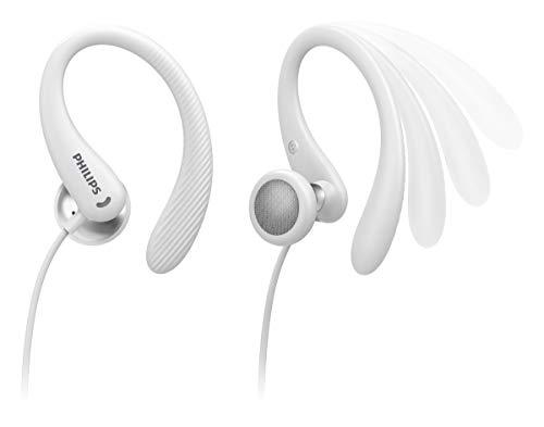 Philips Sportkopfhörer A1105WT/00 mit Mikrofon, In Ear Kopfhörer (Flexible Ohrbügel, Bass-Beat-Öffnung, IPX2 schweißresistent, Sicherer Sitz, Inline-Fernbedienung) Weiß - 2020/2021 Modell