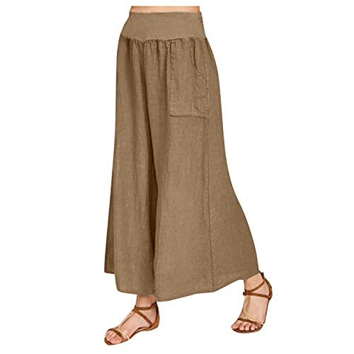 WANGPU Linen Wide Leg Palazzo Pants for Women, Plus Size Cropped Trousers Culottes with Band Waist Casual Loose Solid Slacks