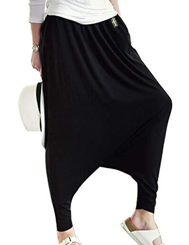 Musclealive delle Donne di Modo Abbigliamento Casual rigonfio Cavallo Basso Harem Donna Pantaloni in Cotone Poliestere e Spandex