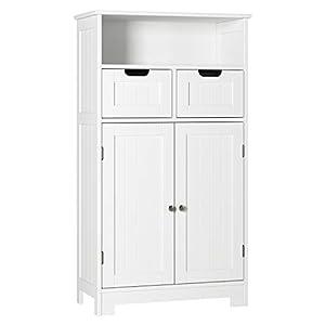 HOMECHO Armario de Baño para Almacenamiento Gabinete de de Suelo con 2 Cajónes y 2 Puertas para Baño Cocina Dormitorio Salón Blanco Marfil 60 x 30 x 110 cm