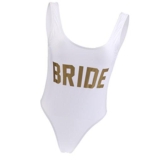 Damen Schlankheits Weiß Braut Badeanzug Einteiler Bademode BRIDE Brief Strandmode für Braut Dusche Henne Nacht Party Junggesellinnenabschied - Gold, S