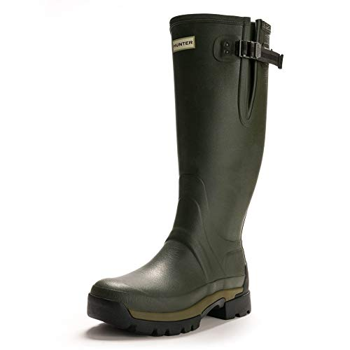HUNTER Men's Balmoral Adjustable 3mm Neoprene Wellington Boots: Dark Olive, 8