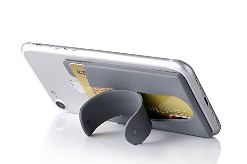 Kronya - Smartphone Kartenhalter mit Ständer - Auto Hülle Etui Finger Fitness Geldbeutel Geldbörse Halter Halterung Handy Hülle Sport (Grau)