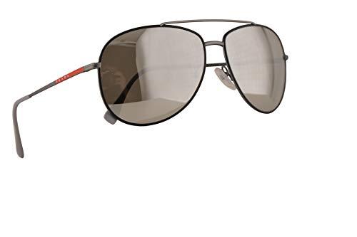 Prada SPS 55US Sonnenbrillen Schwarz Gummi Silber Mit Silbernen Verspiegelten Gläsern 61mm 6BJ2B0 PS 55US PS55US SPS55U
