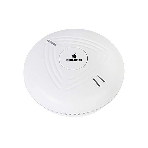Detector de humo, 10 años de vida útil Funciona con batería Material ignífugo Detector de humo Alarma de monitor de incendio con botón de prueba y luz, voz alta, recordatorio de batería baja (1)