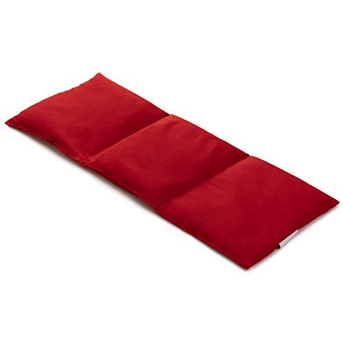 Leinsamenkissen 20x50cm groß 3-Kammer rot - Wärmekissen, Körnerkissen - rot