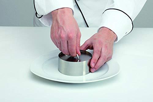 APS 113 Edelstahl Mousse Ring nahtlos, 5-tlg. Set (4 Ringe + 1 Pusher), Ø 8 cm