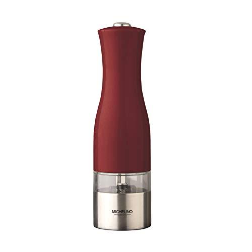 Michelino elektrische Gewürzmühle Atlanta Pfeffer-/Salzmühle LED-Beleuchtung Salz-/Pfeffermühle mit Keramikmahlwerk (Rot)
