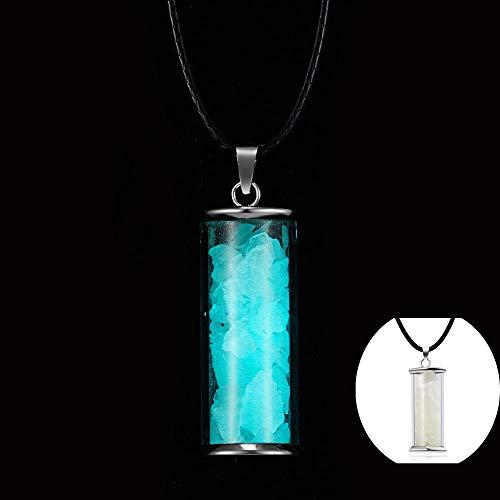 DGSDFGAH Collar De Mujer Azul Creatividad Piedra Luminosa Vidrio Fluorescente Collar con Colgante De Botella De Deseos, Cristal Natural Que Brilla En La Oscuridad Botella De Deriva Joyería De