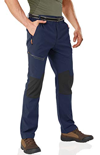 Wohthops Combat Trousers Waterproof Stretch Trousers Combat Pants with Multi Zipper Pockets Navy, 34 (Keela Scuffer Trousers Best Price)