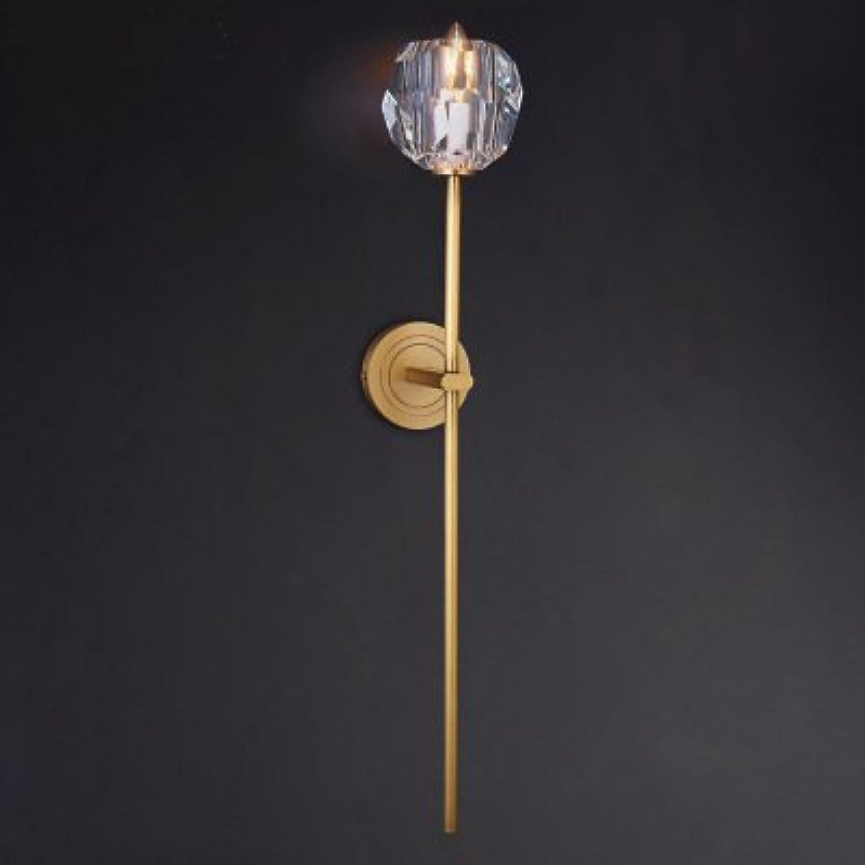 StiefelU LED Wandleuchte aus reinem Kupfer, Messing Wandleuchten k9 Crystal Hyun aus Balkon wand Treppe Glas an der vorderen Wand leuchten, EIN-8001, gelbes Licht
