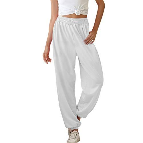 Thenxin Womens Cotton and Linen Baggy Harem Hippie Pants Elastic Waist Beam Foot Dance Trouser