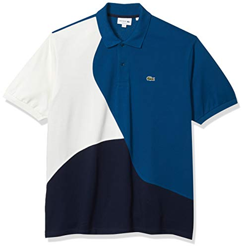 Lacoste Mens Short Sleeve 2 Ply Pique 37.5 Polo Classic Polo Shirt, Navy Blue/Raffia Matting/Flour, XL