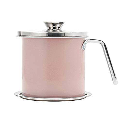 YCZM Grease Storage, Household Oil Storage Filter Container, Stainless Steel Cooking Oil Tank with Removable Fine Screen and Coaster Tray,Pink,1.3 liters