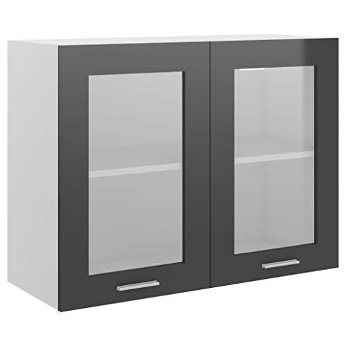 vidaXL Armario de Cocina Muebles Mobiliario Duradero Mesa de Trabajo Almacenamiento Cuencos Platos Ollas Alacena Aglomerado Gris Brillante 80x31x60 cm