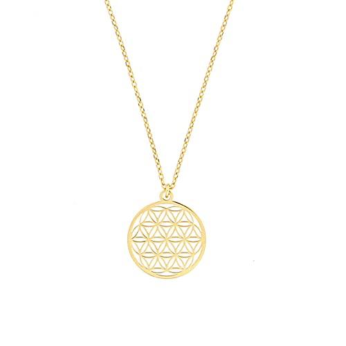 HALSKETTE Blume des Lebens Anhänger 925 Silber vergoldet ø 15 mm
