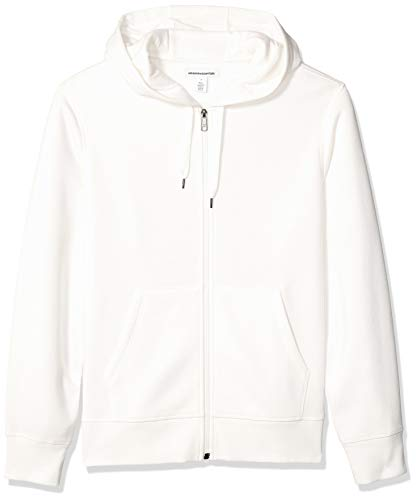 Amazon Essentials Men's Full-Zip Hooded Fleece Sweatshirt, Off Off White, Large