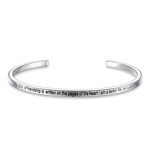 "Annamate Armband mit Gravur Damen Armreif, Inspirationaler Motivationstext ""The story of friendship is written on the pages of the heart. I am a better Me because of You"" - Offener Manschette Boutique"