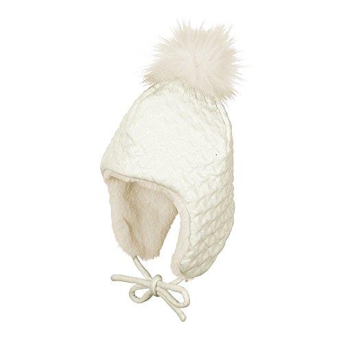 Sterntaler Inka-Mütze für Mädchen mit Bommel und Bindebändern, Alter: ab 12-18 Monate, Größe: 49, Beige (Ecru)