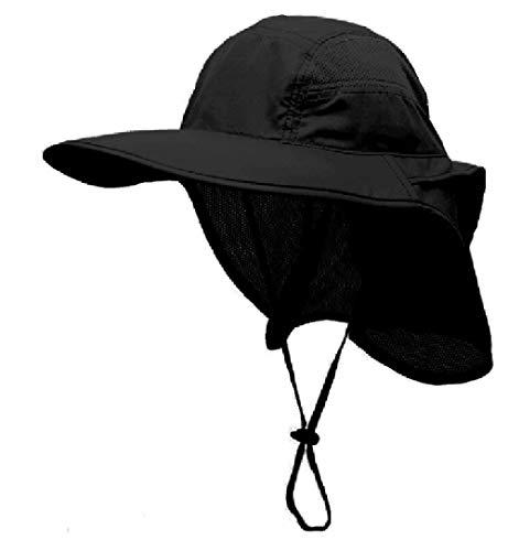 GG ST Sonnenhut Herren Damen UPF 50+ Outdoor UV Summer Cap mit Nackenschutz Hiking Fischerhut Strand Faltbar Safari Buschhüte Mesh Hat (Schwarz)