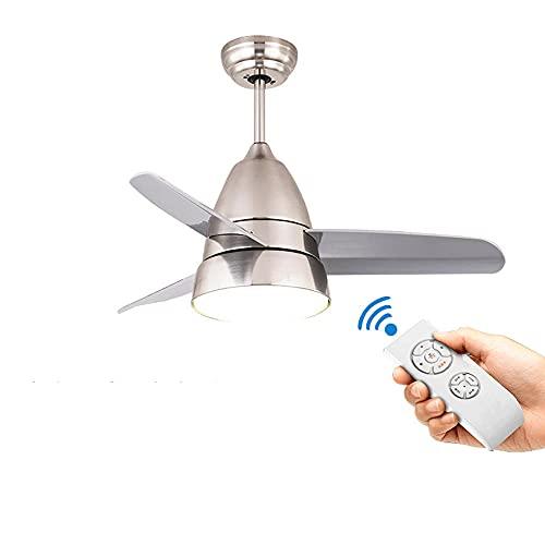 Lámpara de techo QEWR con ventilador silencioso, ventiladores de techo con iluminación silenciosa con control remoto 36 pulgadas 3 aspas de ventilador hechas de luz LED ABS Motor de CA de 15 ~ 75 W