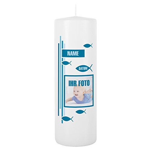 Striefchen® Taufkerze mit Foto, Namen u. Taufdatum, blau 8x25 cm Blanche Weiß