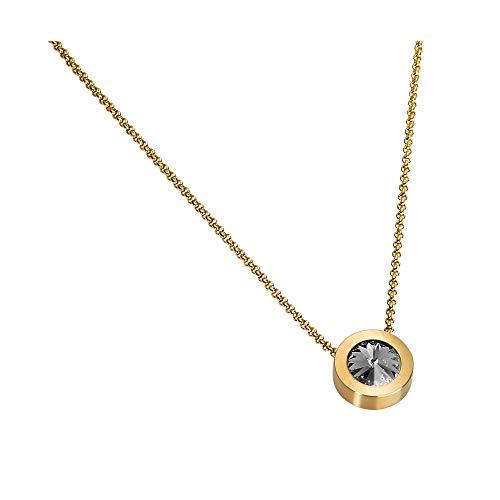 Heideman Halskette Damen Coma 16 aus Edelstahl Gold Farben matt Kette für Frauen mit Swarovski Kristall Weiss oder farbig Erbskette in verschiedenen Längen Black Diamond Gr. hk2128-7-215-38