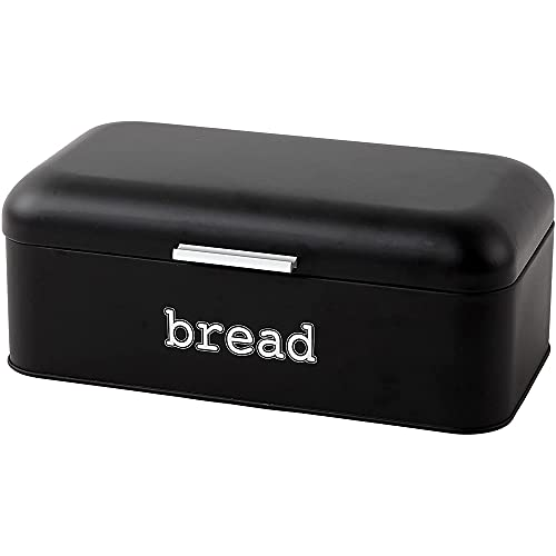 Juvale Bread Box for Kitchen Counter - Stainless Steel Large Bread Bin Storage Container Holder for Loaves Pastries & More - Retro Vintage Design Matte Black 16.75 x 9 x 6.5 inches
