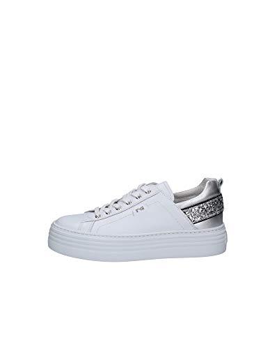 Nero Giardini Sneakers Donna Colore Bianco oxigen Argento t.Glitter (Numeric_39)