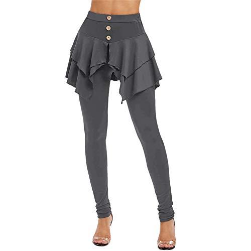 feeilty vrouwen Solid Color Ruffle onregelmatige hoge taille lange broek layered 3-knops mini-rock Large grijs