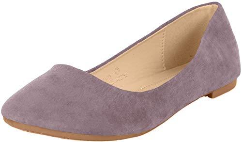 Bella Marie Stacy-12 Ballet Ballet-Flats, Grey Suede, 7.5