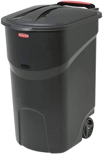COLIBYOU 45 Gallon Black Trash can with lid Trash can with Wheels Trash can Outdoor Plastic Trash can with lid Kitchen Outdoor Trash can