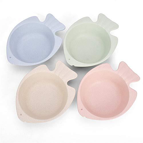 JINGZI Vajilla de Paja, tazón para el hogar de Peces pequeños para niños, Kindergarten 4 Piezas, Cuenco de Seguridad de Cocina amigable con el Medio Ambiente (Color : 1)