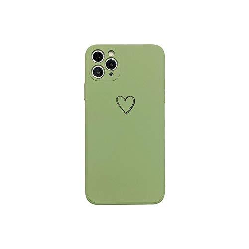 Funda líquida de silicona para iPhone 11 XR 7 8 Plus 11Pro XS Max lente cuadrada de protección de cámara para iPhone SE-verde-para iPhone 8