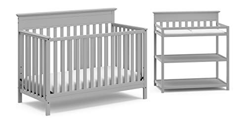 STORKCRAFT Crib and Change Table Nursery Furniture Set in A Box by The Windard Set Includes a 4 in Convertible Crib Changing Table with WaterResistant Change Pad, Pebble Gray