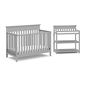 Crib and Change Table Nursery Furniture Set in A Box by Storkcraft – The Windard Set Includes a 4 in 1 Convertible Crib & Changing Table with Water-Resistant Change Pad, Pebble Gray