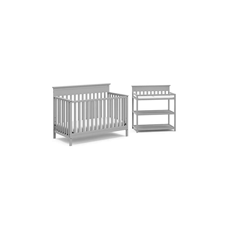 crib bedding and baby bedding crib and change table nursery furniture set in a box by storkcraft - the windard set includes a 4 in 1 convertible crib & changing table with water-resistant change pad, pebble gray