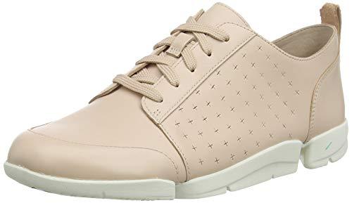 Clarks Damen TriAmelia Edge Sneaker, Beige (Blush Leather Blush Leather), 41 EU